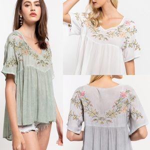 Grey floral embroidered v neck short sleeve top
